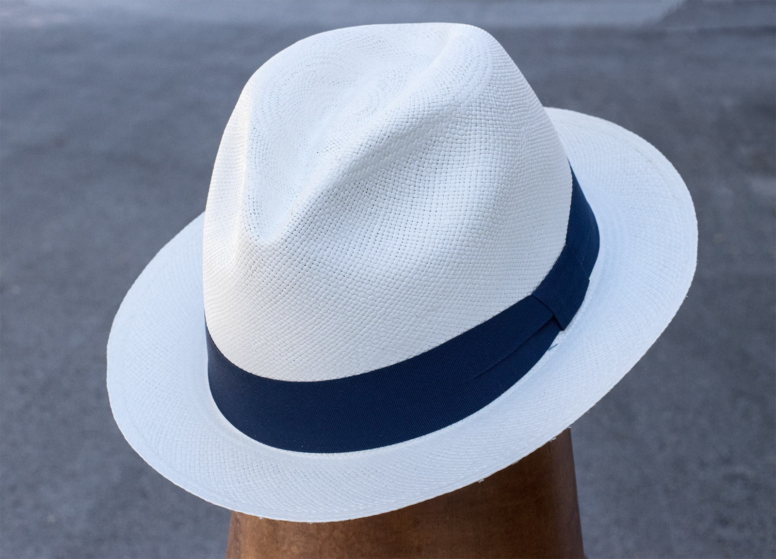 Classic White Toquilla Straw Hat w/ Blue Ribbon